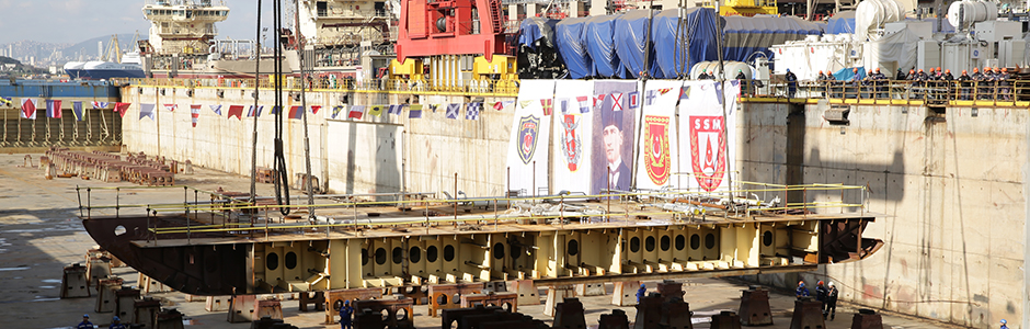 Laying the keel of the Turkish amphibious assault ship designed by NAVANTIA